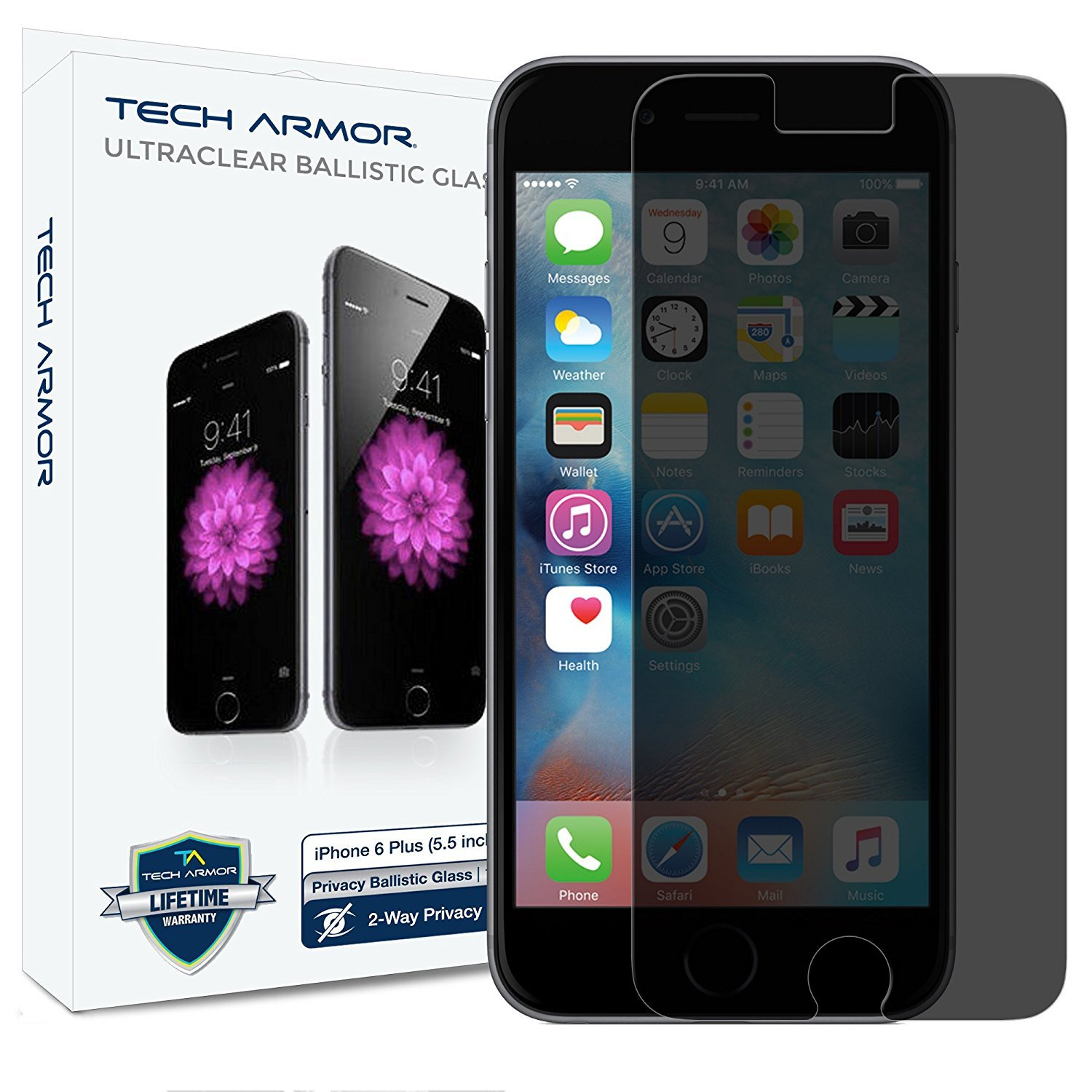 Tech Armor Privacy Ballistic Glass Screen Protector for Apple iPhone 6 Plus / iPhone 6s Plus (5.5-inch) [1-Pack]