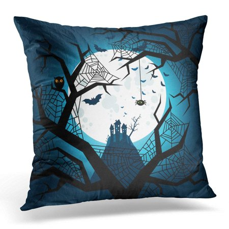 USART Black Cartoon Halloween Bats Flying in The Night with Full Moon on Dark Blue White Celebration Pillow Case Pillow Cover 20x20 - Halloween Full Moon Cartoon