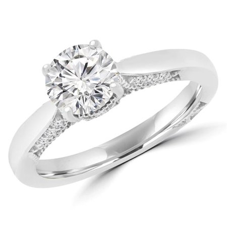 Majesty Diamonds MD170228-6.5 1.12 CTW Round Diamond Solitaire with Accents Engagement Ring in 18K White Gold - Size 6.5 - image 1 of 1