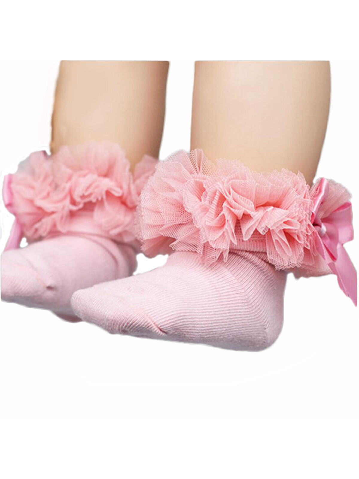White Girls Lace Frilly Socks Multi//Pink LOL Ribbon Trim with Bows Size 9-12