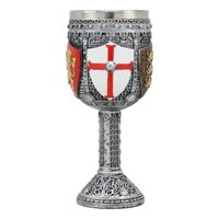 "Ebros Medieval English Heraldry Coat Of Arms Wine Goblet 7""H 5oz Sturdy Wine Chalice"
