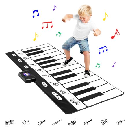 Best Choice Products 71in Giant Heavy-Duty Vinyl 24-Key Piano Keyboard Music Playmat w/ 8 Instrument Settings, Easy Touch Buttons, Record, Playback - Black/White](Giant Floor Keyboard)