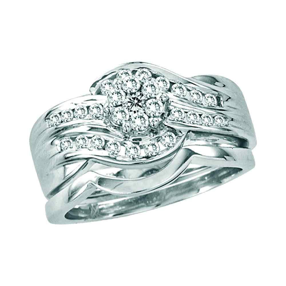 14kt White Gold Womens Round Diamond Bridal Wedding Engagement Ring Band Set (.50 cttw.) by Mia Diamonds