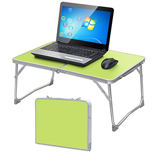Yaheetech Foldable Laptop Table Tray Desk Stand Bed Sofa Couch w/MDF Table Top & Aluminum Frame (Green)