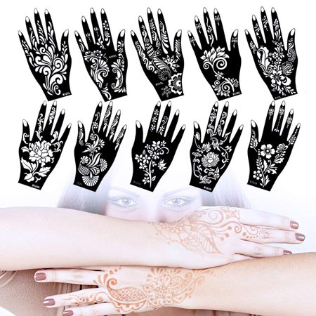 Lady Up 10 Sheets Henna Tattoo Stencils Temporary Tattoo Temples Set ...