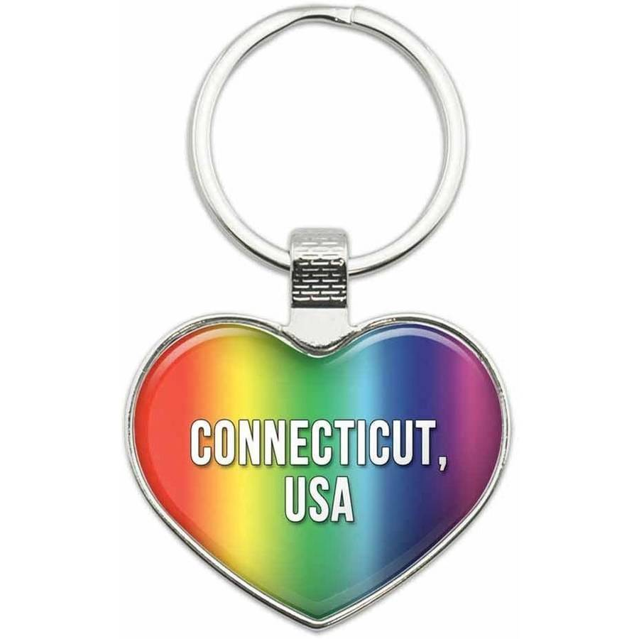Connecticut USA - State in USA Metal Heart Keychain Key Chain Ring, Rainbow