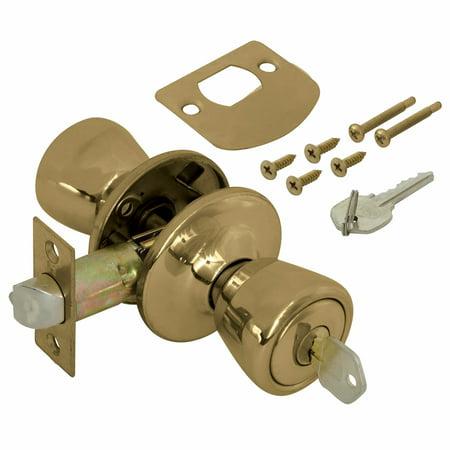 Ez-Flo 57504 Entry Lockset Economy Antique Brass - Clam