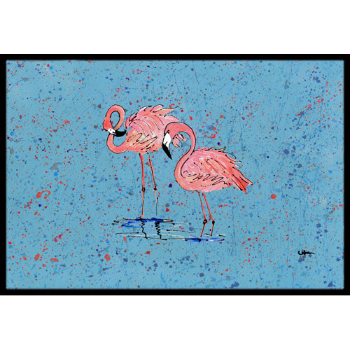 Caroline's Treasures Flamingo on Speckle Doormat