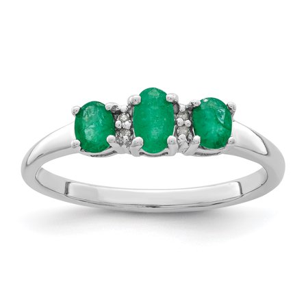 925 Sterling Silver 3 Green Emerald Diamond Band Ring Size 7.00 Stone Gemstone Gifts For Women For Her