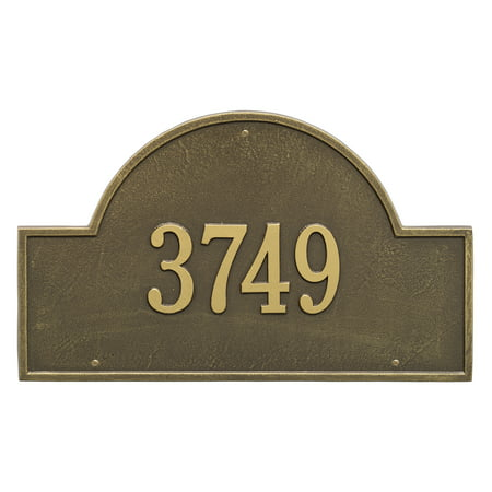 Personalized Whitehall Products Estate One Line Arch Marker Wall Address Plaque in Antique Brass