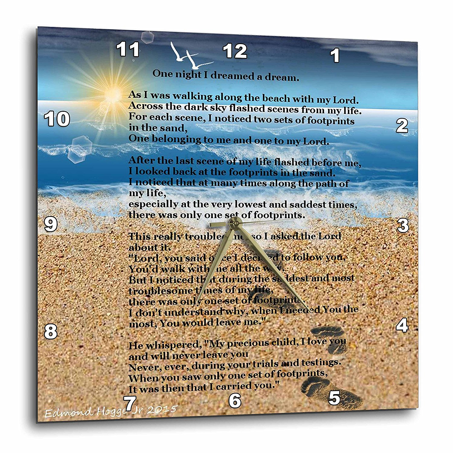 3drose Footprints In The Sand On Beach With Poem Wall Clock 15 By