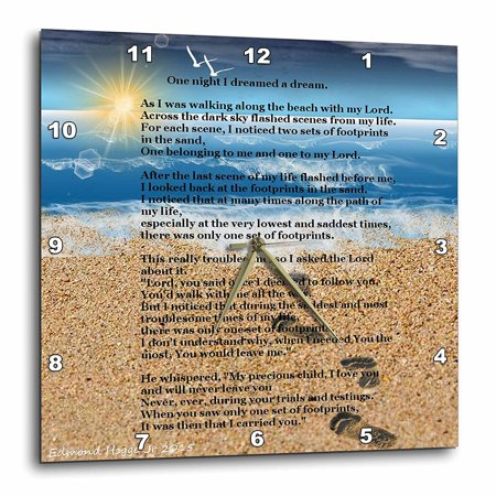 3dRose Footprints in the Sand on Beach with Poem, Wall Clock, 15 by 15-inch