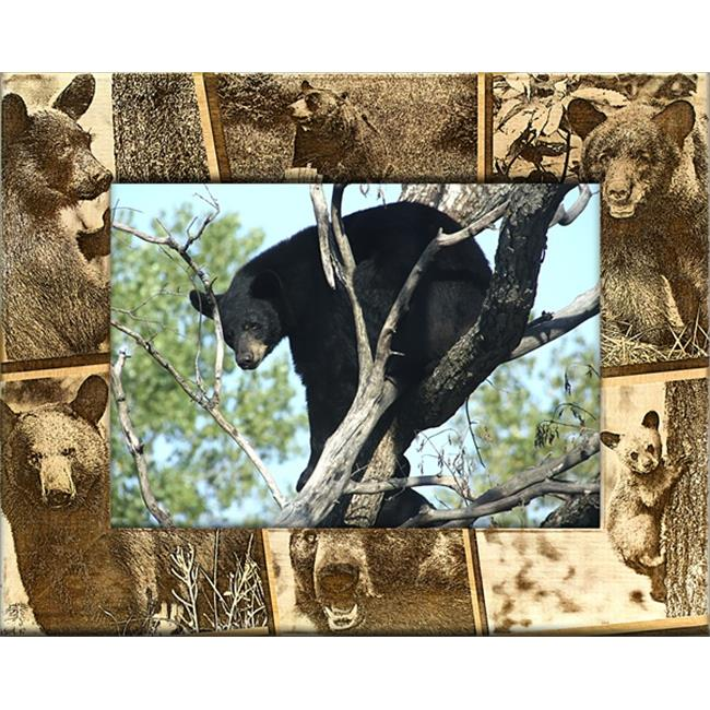 Giftworks Plus BRD0171 Black Bear, Alder Wood Frame, 5 x 7 In