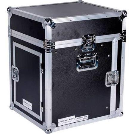 Fly Drive Case 10U Space Slant Mixer Rack - 10U Space Vertical Rack System with Full AC Door
