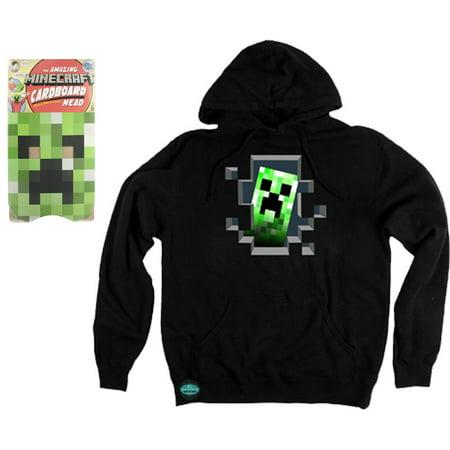 Maven Gifts: Creeper Head Green Cardboard Mask and Creeper Inside Hoodie, Black, Small](Cardboard Creeper Head)