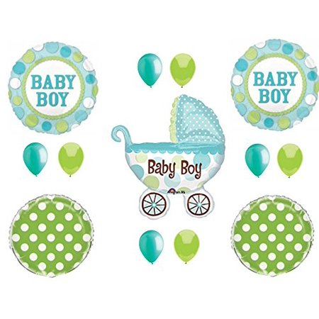 - IT'S A BOY Buggy Carriage Baby Shower Balloons Decoration Supplies Polka Dots