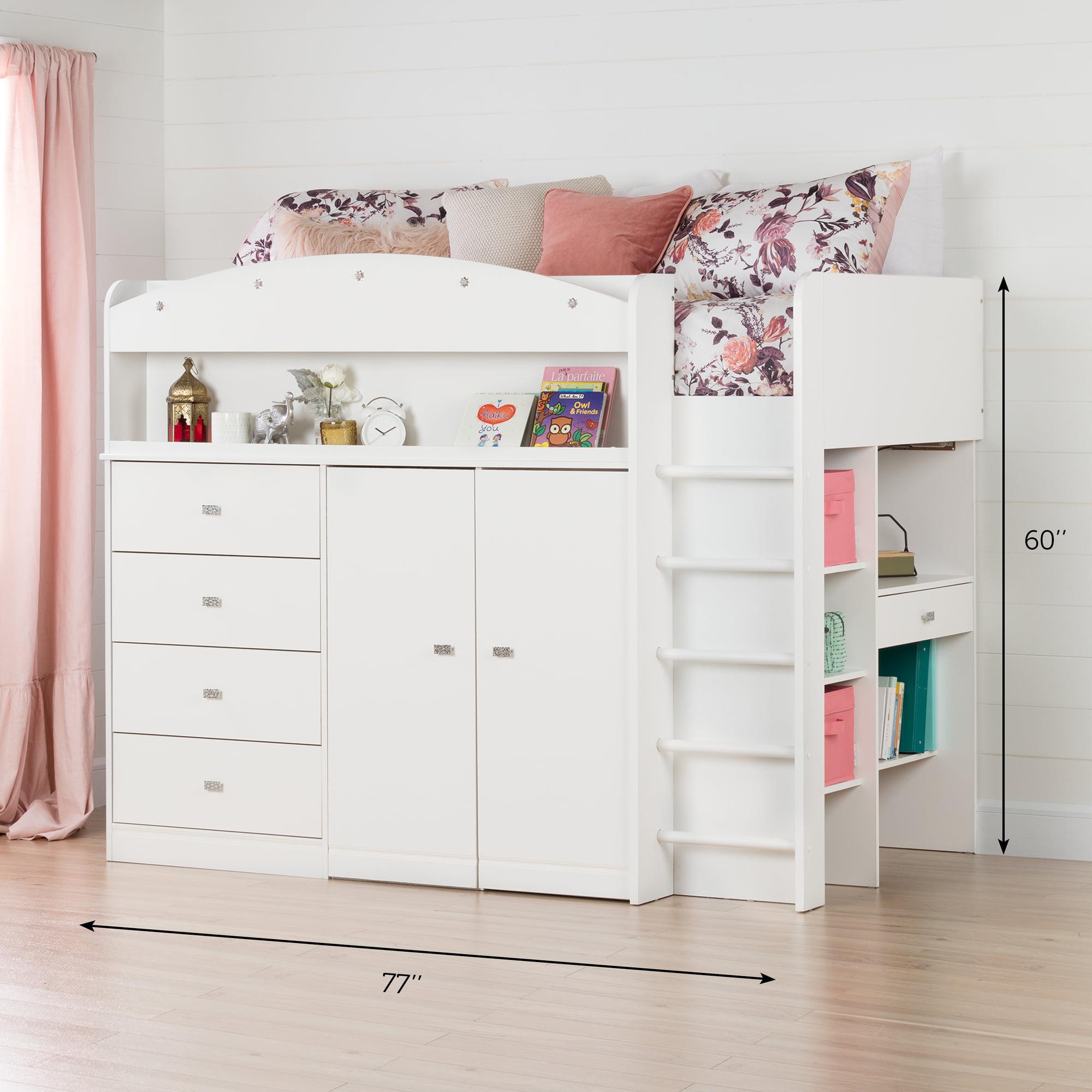 Picture of: South Shore Tiara White Twin Loft Bed With Desk 39 Walmart Com Walmart Com