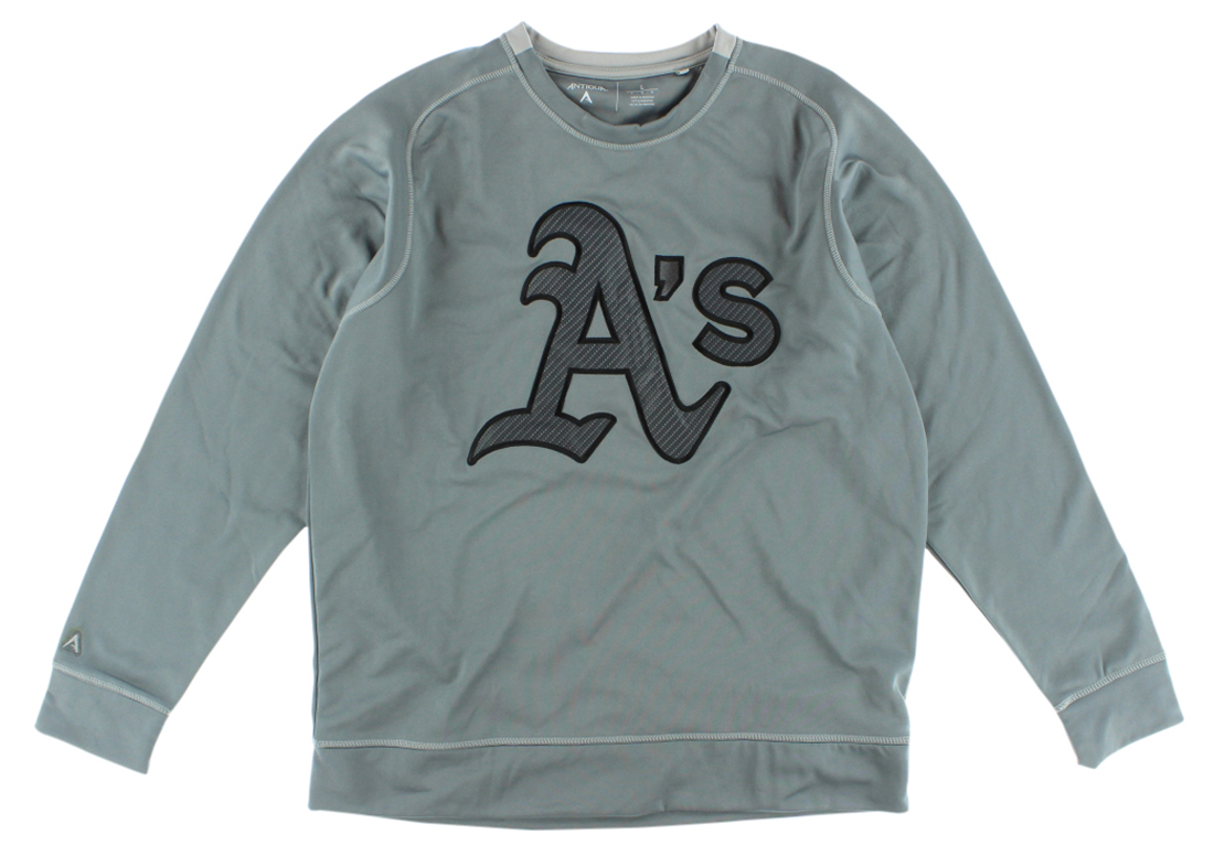 Antigua Mens Oakland As MLB Carbon Crew Sweatshirt Grey by Antigua