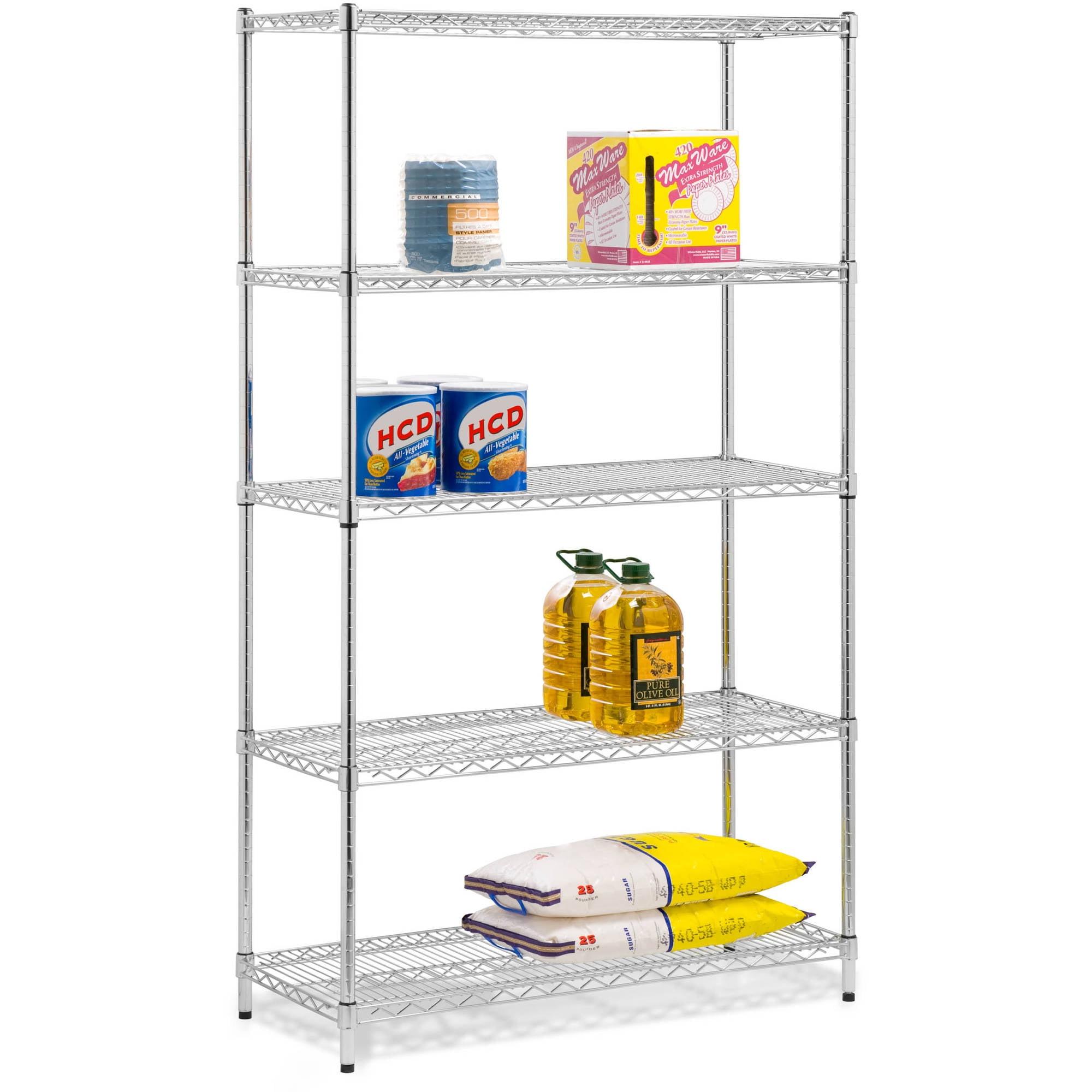Honey Can Do Urban Shelving 5-Tier Adjustable Storage Shelving Unit, Chrome