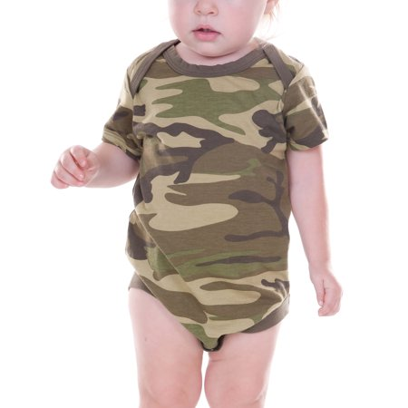 Kavio! Unisex Infants Camouflage Lap Shoulder Short Sleeve Bodysuit Camo Army Green 12M