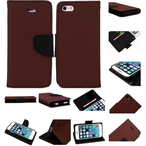 Insten Dark Brown PU Leather Flip Wallet Card Slot Cover Case For Apple iPhone SE 5S 5