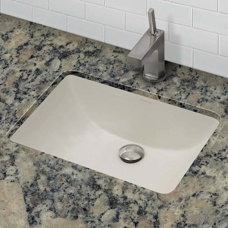 Decolav Counter Lavatory Sink - DecoLav Classically Redefined Callensia Ceramic Rectangular Undermount Bathroom Sink with Overflow