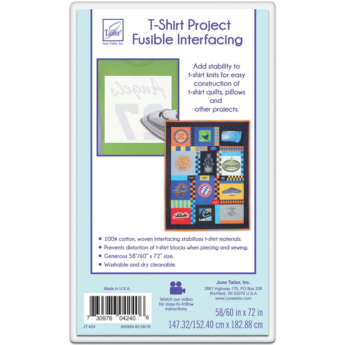 June Tailor T Shirt Project Fusible Interfacing 60 X 72 White