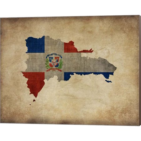 Great Art Now Map with Flag Overlay Dominican Republic by Take Me Away Canvas Wall Art 20W x (Show Me A Map Of The Dominican Republic)