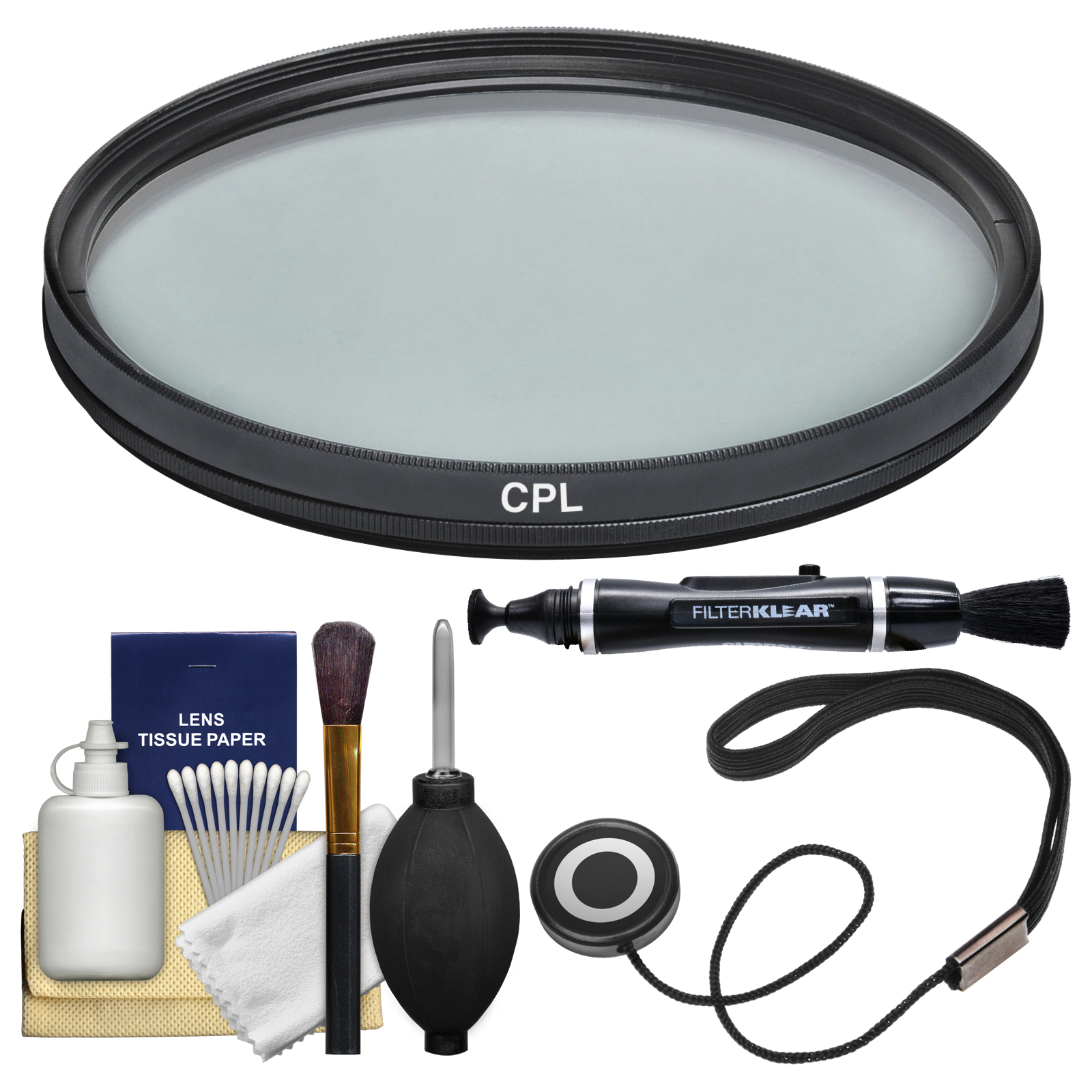 Vivitar 62mm Circular Polarizer Glass Filter + LensPen + CapKeeper + Lens Cleaning Kit for Canon, Nikon, Sony, Olympus & Pentax Lenses