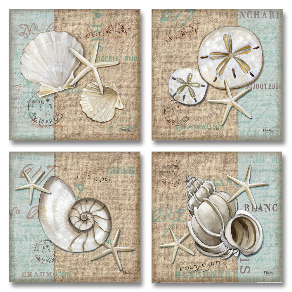 Trendy Coastal Art Shells; Four 12x12in Prints (These are paper prints)