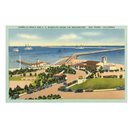 Cabrillo Beach and US Warships inside the Breakwater, San Pedro, California Print Wall Art