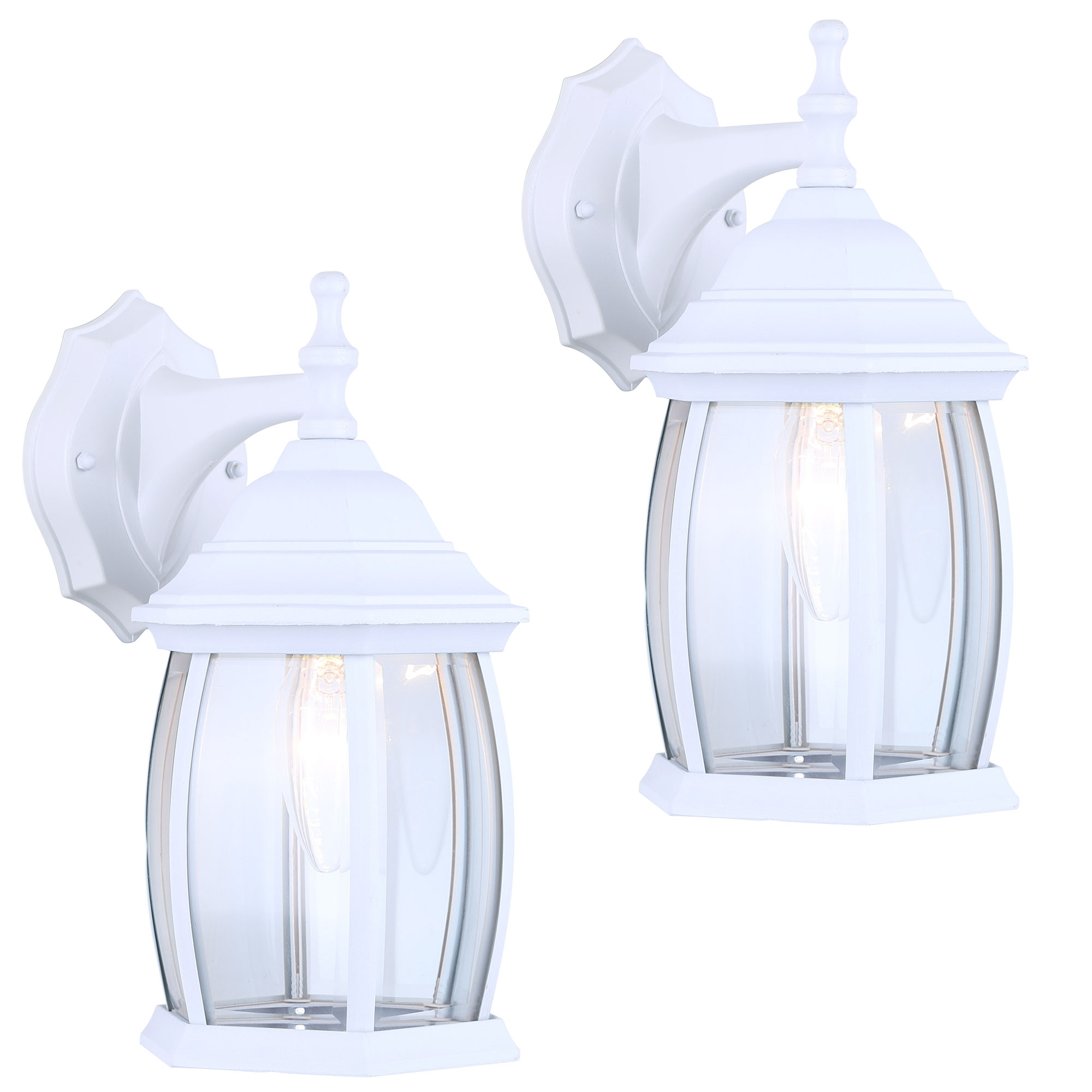 2 Pack Of Exterior Outdoor Light Fixture Wall Lantern Sconce Clear Curved Beveled Glass White Finish Walmart Com Walmart Com