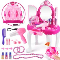 WALFRONT Girls Make Up Dressing Table, Princess Kids Pretend Play Toy Beauty Mirror Vanity Playset with Stool/Mirror/Hair Dryer Makeup Accessories Girls Gift Toy