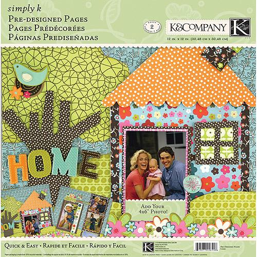 "K&Company Simply K Pre-Designed Pages, 12"" x 12"" 2pk, Home"