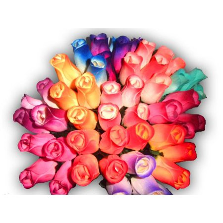 2 Dozen 24 Mixed Color Bouquet of Wooden Rose Buds Artificial Flower (Dried Flower Buds)