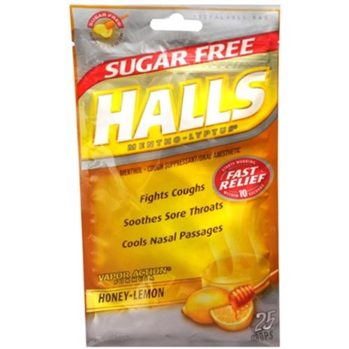 Halls Mentho-Lyptus Drops Sugar Free Honey-Lemon 25 Each (Pack of 2)