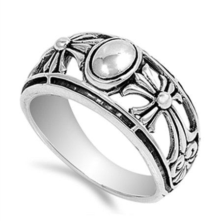 - Oval Filigree Cross Floral Bead Wide Ring ( Sizes 5 6 7 8 9 10 11 ) .925 Sterling Silver Band Rings by Sac Silver (Size 5)