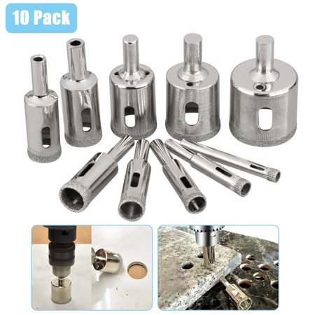 10-Pack Diamond Holesaw Drill Bit Hole Saw Set For Cutter Glass Ceramic Marble 6-32mm(6mm/8mm/10mm/12mm/14mm/16mm/18mm/20mm/22mm/32mm)