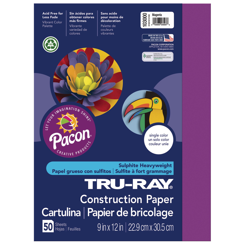 "Pacon Tru-Ray Construction Paper, 9"" x 12"", Magenta"
