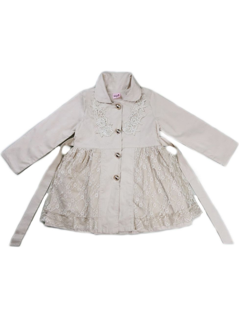 Wenchoice Girls Ivory Lace Wind-Resistant Long Sleeved Coat