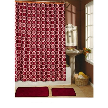 Country Flower Burgundy 15 Piece Shower Curtain Hook Bath Rug Set