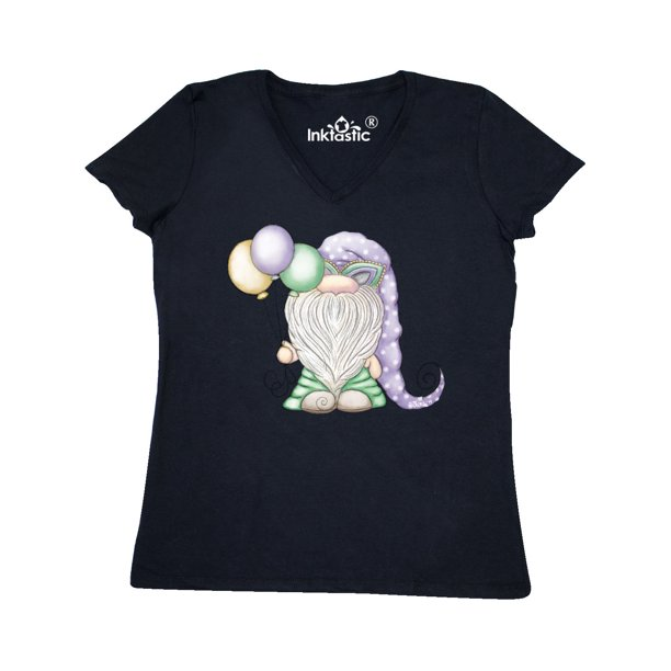 Mardi Gras Gnome Women's V-Neck T-Shirt