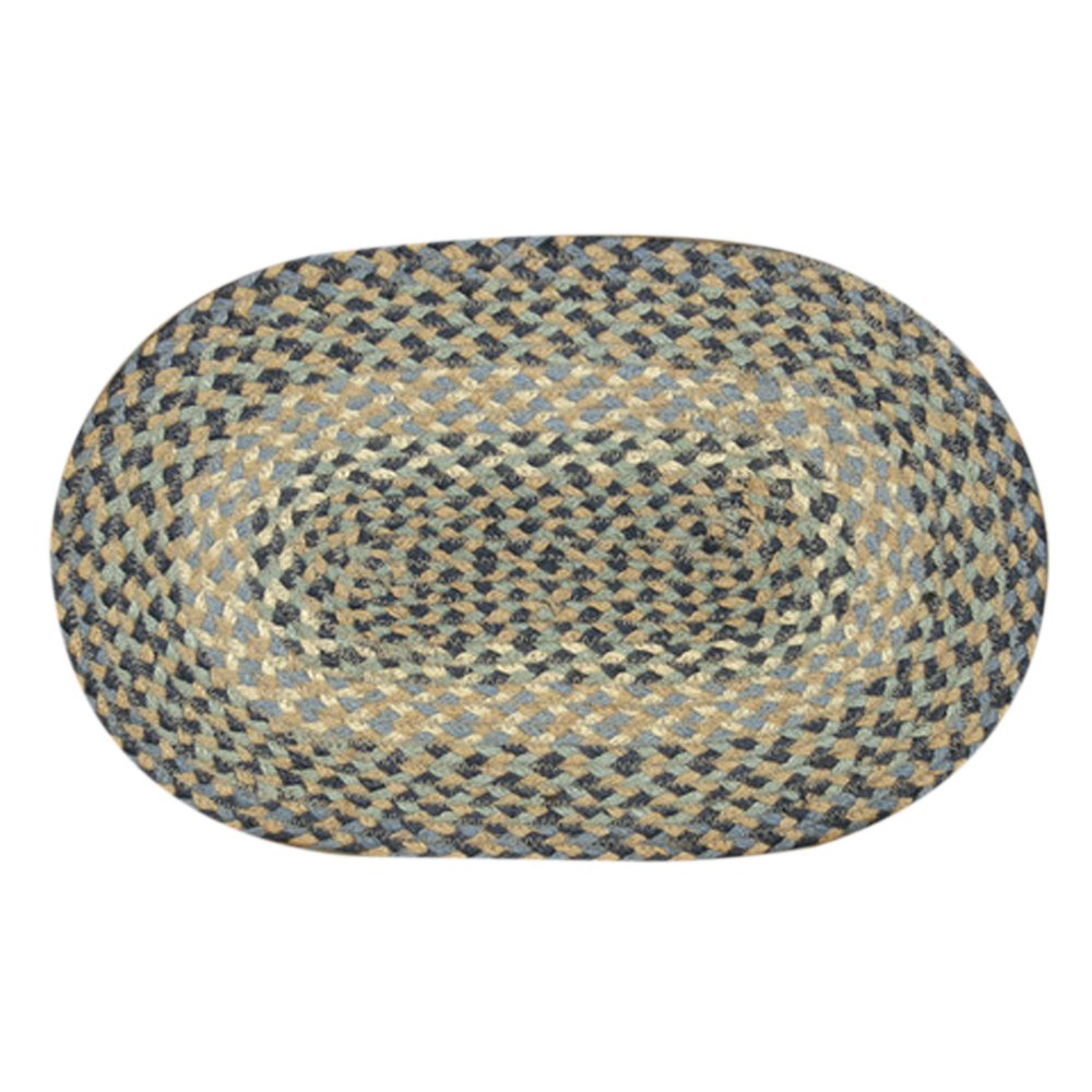 "Earth Rugs MS-005 Oval Swatch, 10 x 15"""", Blue/Natural"