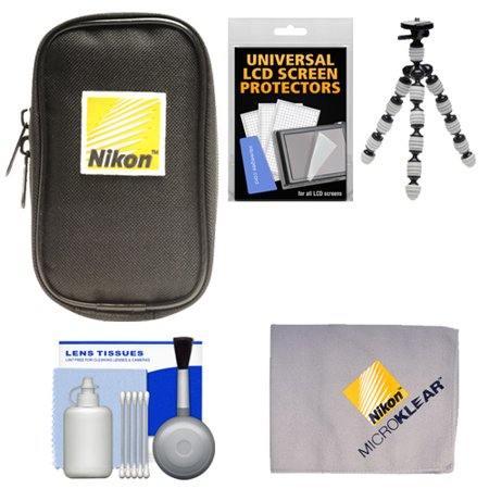 Nikon Coolpix Nylon Digital Camera Carrying Case with Flex Tripod + Cleaning Kit for A, AW110, AW120, P330, P340, S31, S32, S800c, S5300, S6800, S9500, S9700