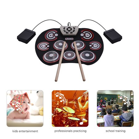 Electronic Drum Pad USB Cable Foldable Roll Up Digital Drum Set with Drumsticks Double Foot Pedals Percussion Instrument Drumpad for Kids Beginners Professionals - image 5 of 6