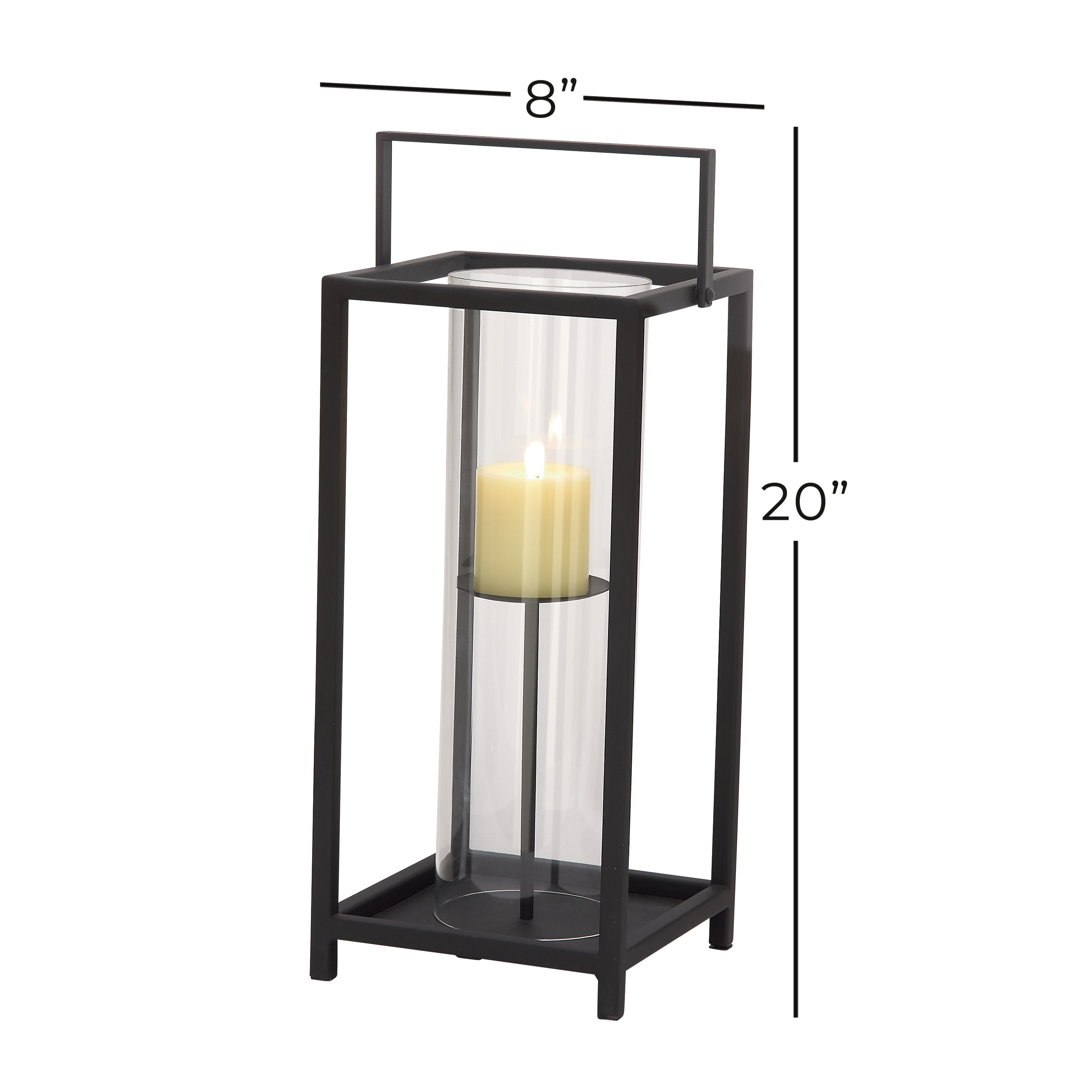 Picture of: Decmode 44539 Large Rectangle Contemporary Iron And Glass Candle Holder In Black Finish W Metal Handle 8 X20 Walmart Com Walmart Com