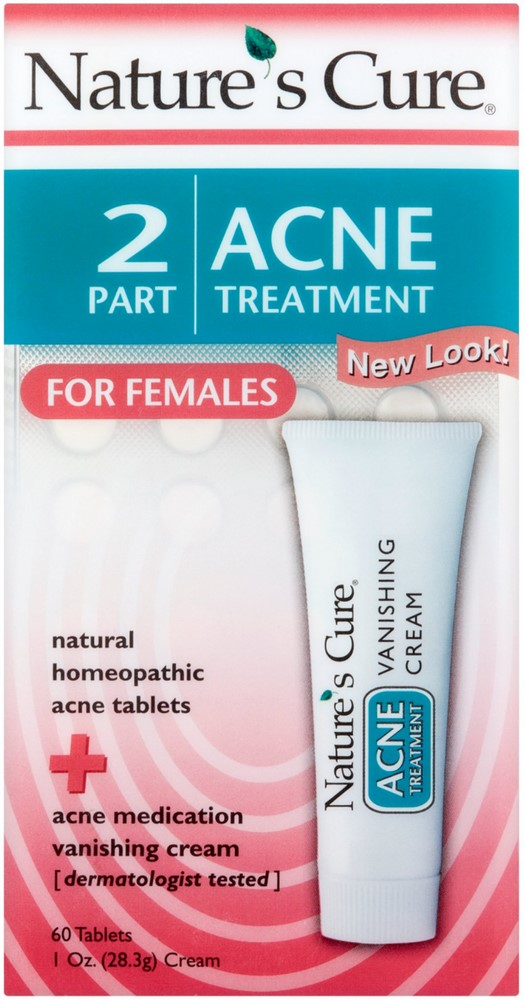 3 Pack - Natures Cure 2 Part Acne Treatment for Females 60 tablets 1 oz Cream Honeysuckle Flower Cream (2 oz, ZIN: 524369)