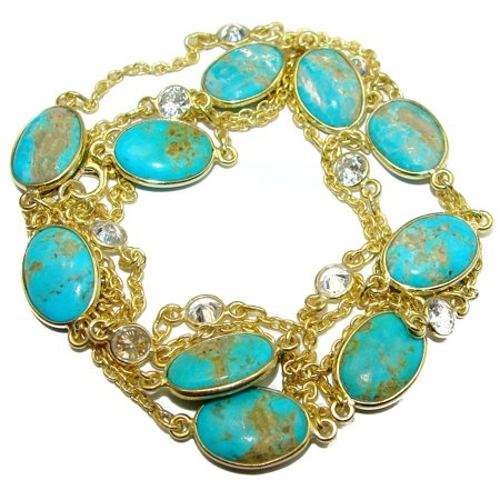 36 inches genuine Sleeping Beauty Turquoise .925 Sterling Silver handmade station Necklace by SilverRush Style