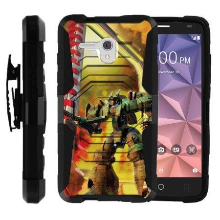 One Touch Automation (TurtleArmor ® | For Alcatel One Touch Fierce XL | Alcatel One Touch Flint [Sturdy Kickstand] Dual Layer Case Holster Belt Clip - Gigantic)