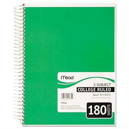 Mead Spiral Bound Notebook, Perforated, College Rule, 8 x 10 1/2, White, 180 Sheets 05682
